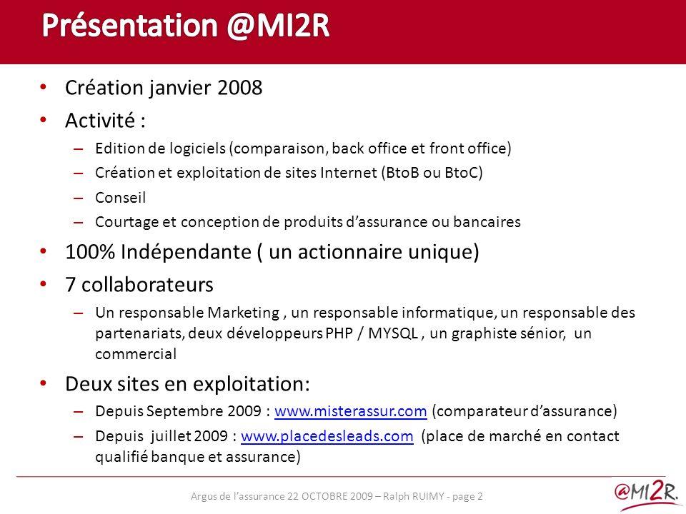 Présentation @MI2R Création janvier 2008 Activité :