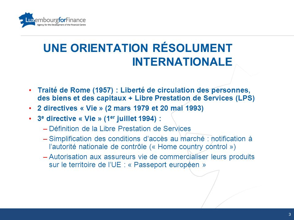UNE ORIENTATION RÉSOLUMENT INTERNATIONALE