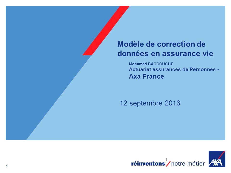 Modèle de correction de données en assurance vie