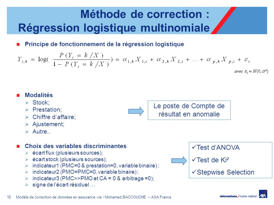 Méthode de correction : Régression logistique multinomiale