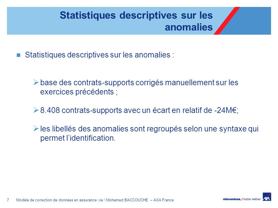 Statistiques descriptives sur les anomalies