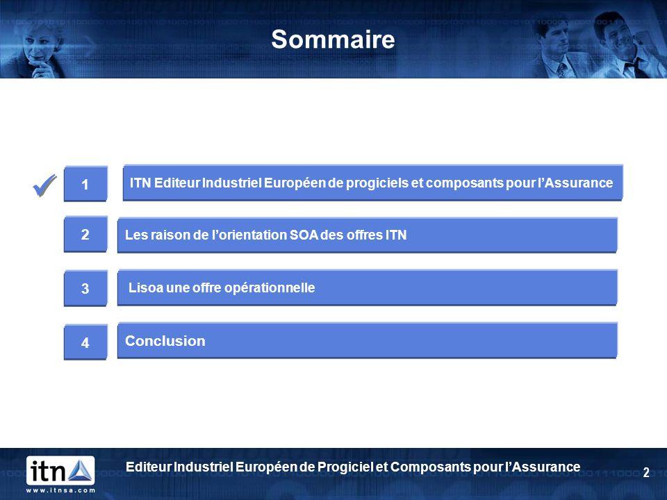 Sommaire  1. ITN Editeur Industriel Européen de progiciels et composants pour l'Assurance. 2. Les raison de l'orientation SOA des offres ITN.