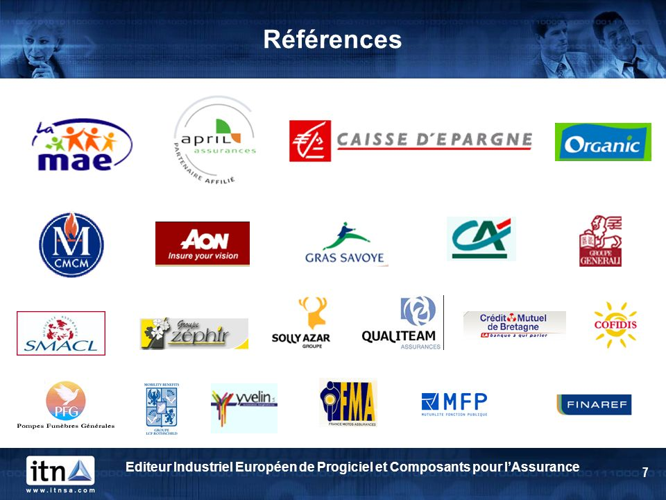 Références Editeur Industriel Européen de Progiciel et Composants pour l'Assurance