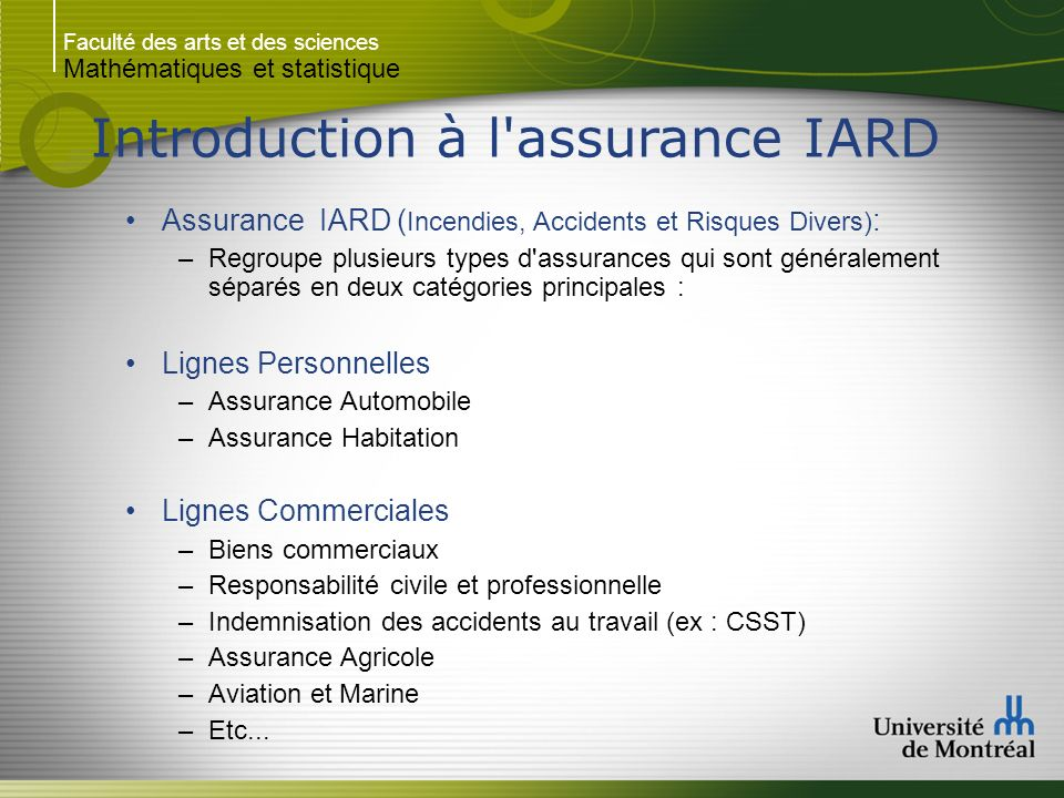 Introduction à l assurance IARD
