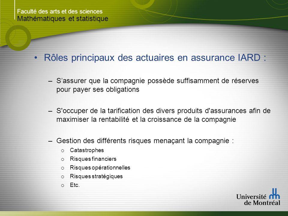 Rôles principaux des actuaires en assurance IARD :