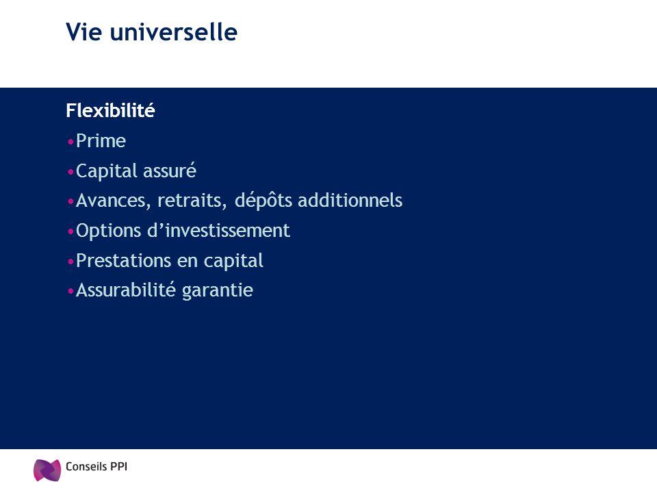 Vie universelle Flexibilité Prime Capital assuré