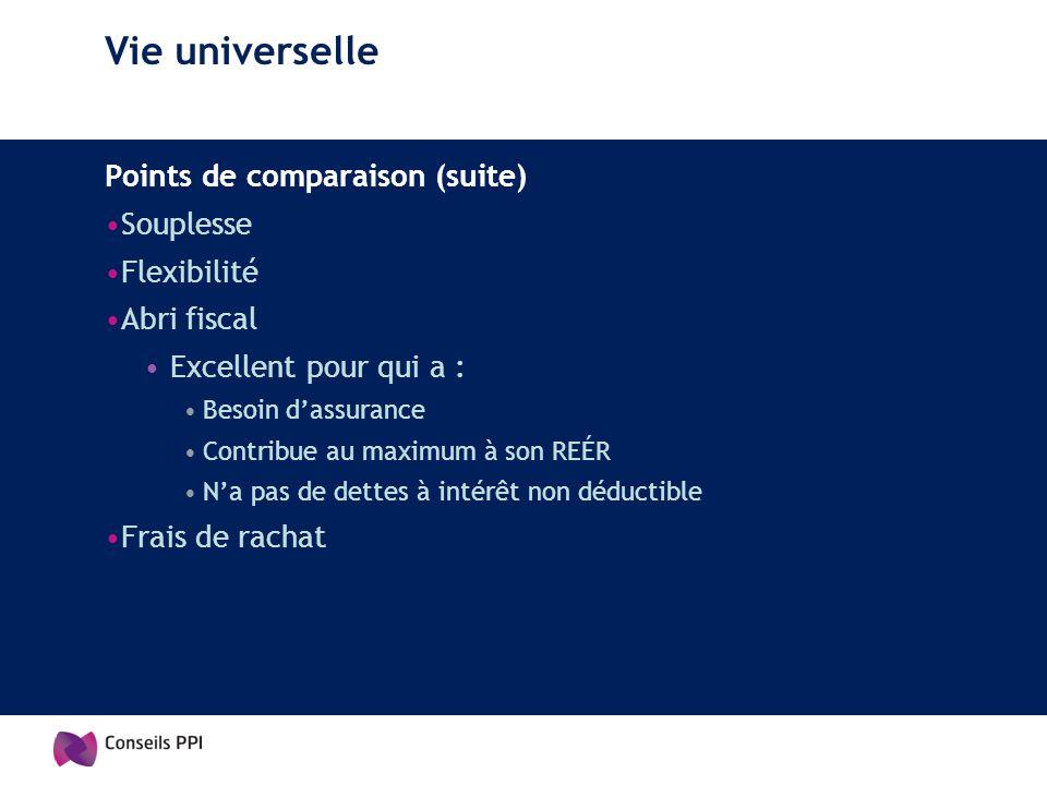 Vie universelle Points de comparaison (suite) Souplesse Flexibilité