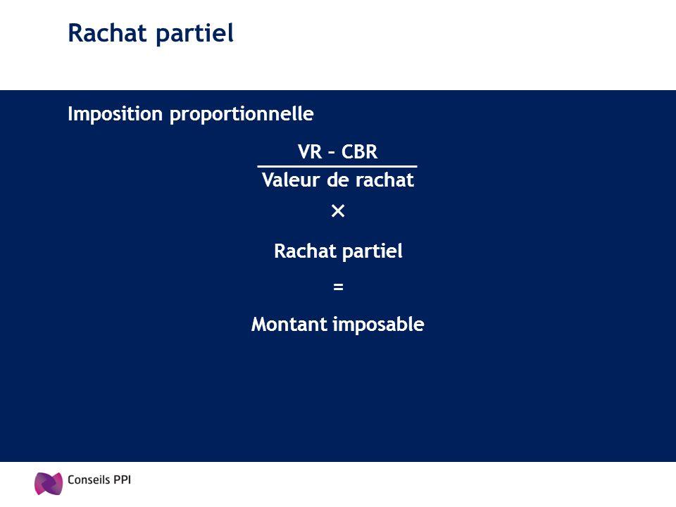Rachat partiel Imposition proportionnelle VR – CBR Valeur de rachat