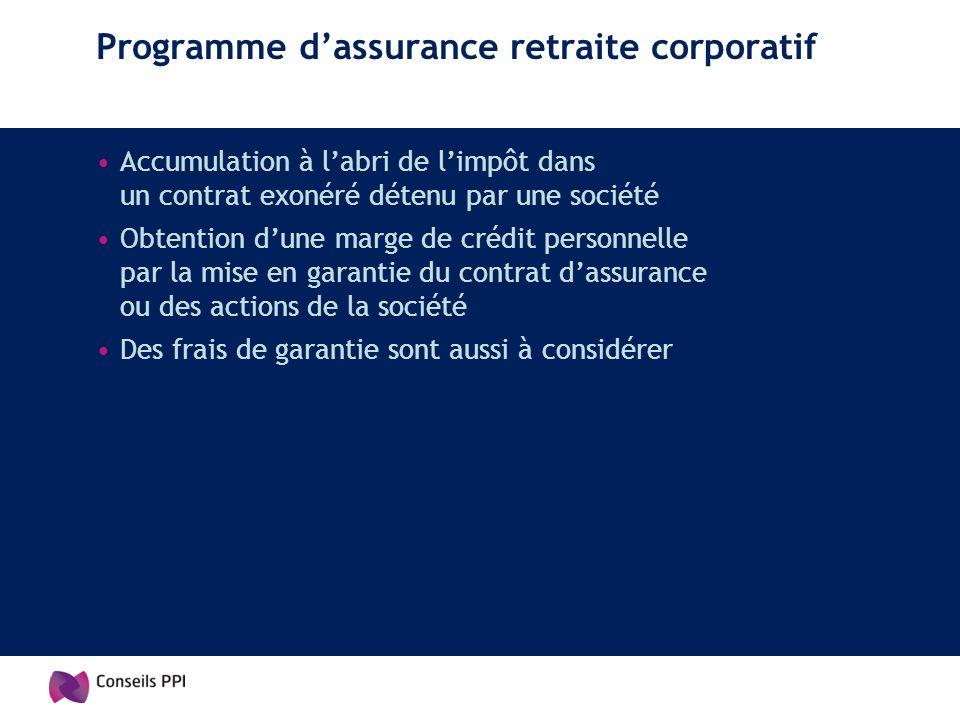 Programme d'assurance retraite corporatif
