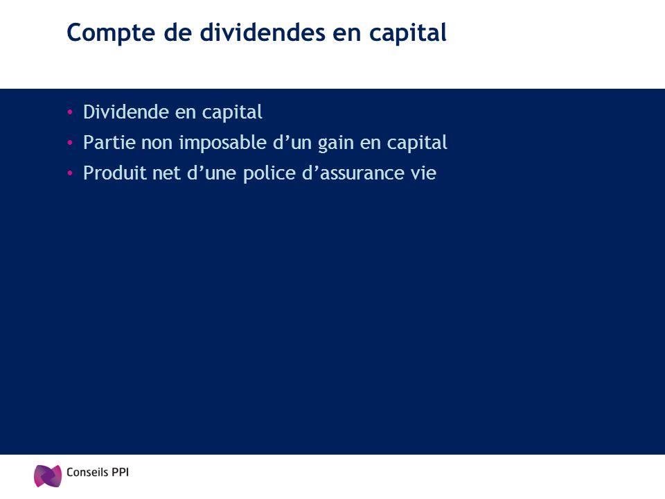 Compte de dividendes en capital