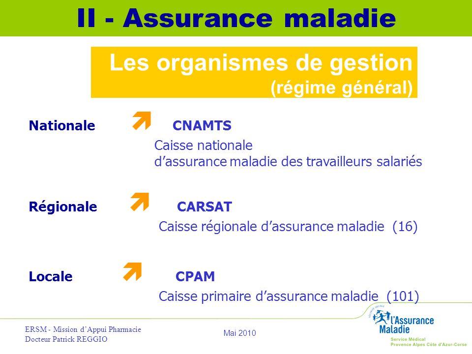 II - Assurance maladie Les organismes de gestion (régime général)