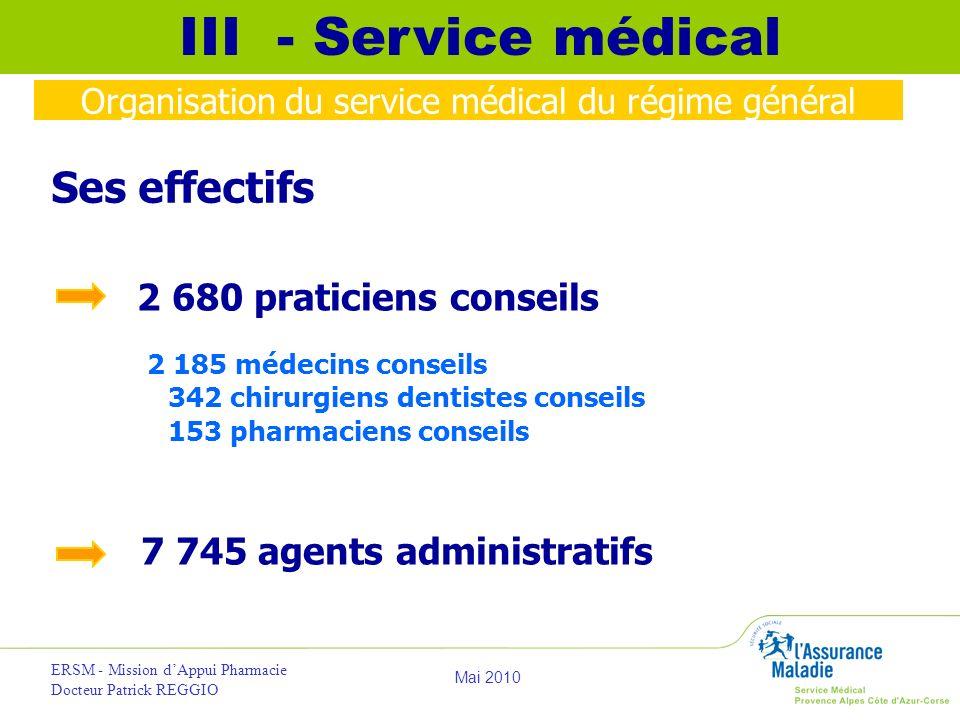 Organisation du service médical du régime général