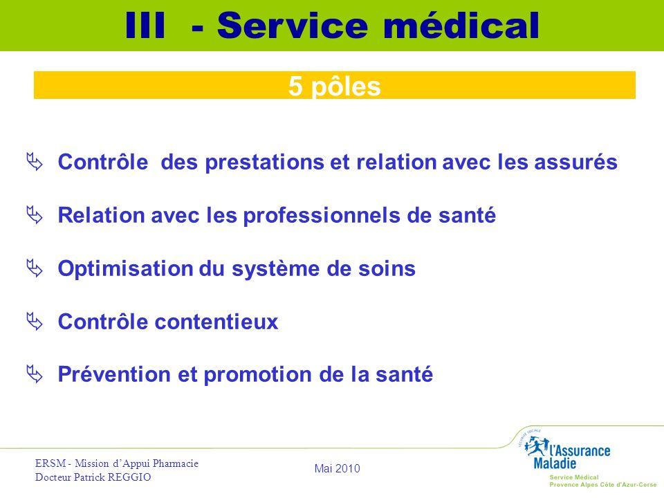 III - Service médical 5 pôles