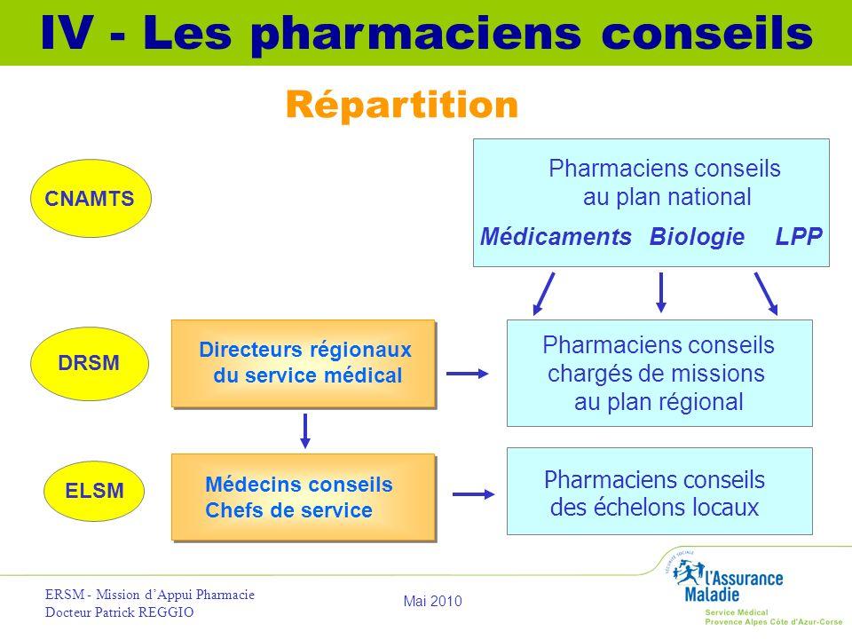 IV - Les pharmaciens conseils