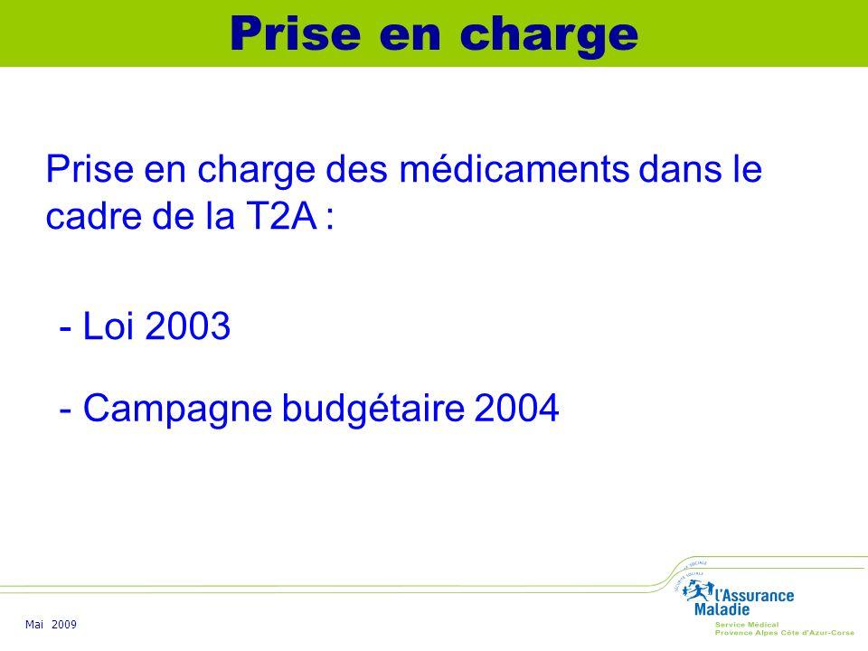 Prise en charge Prise en charge des médicaments dans le cadre de la T2A : - Loi 2003. - Campagne budgétaire 2004.
