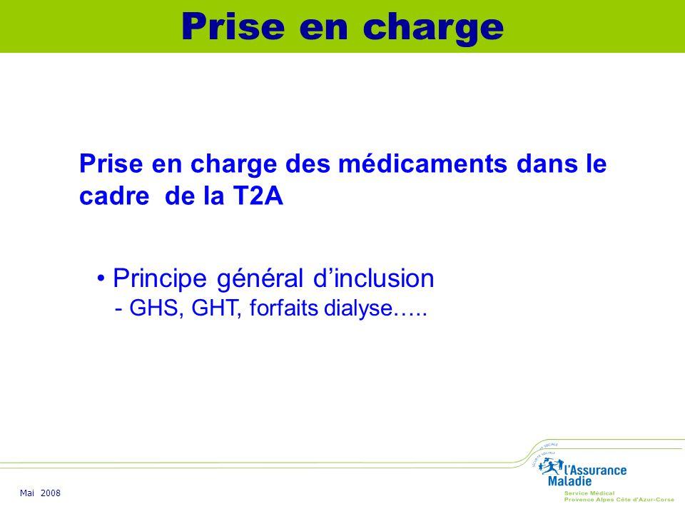 Prise en charge Prise en charge des médicaments dans le cadre de la T2A. Principe général d'inclusion.