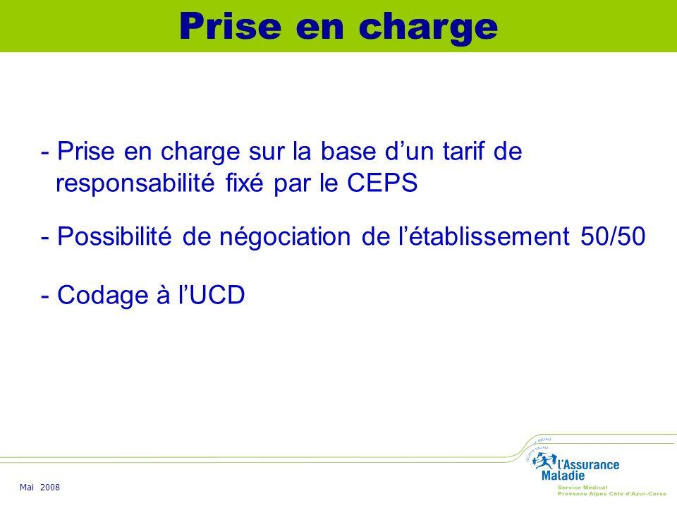 Prise en charge - Prise en charge sur la base d'un tarif de responsabilité fixé par le CEPS. - Possibilité de négociation de l'établissement 50/50.