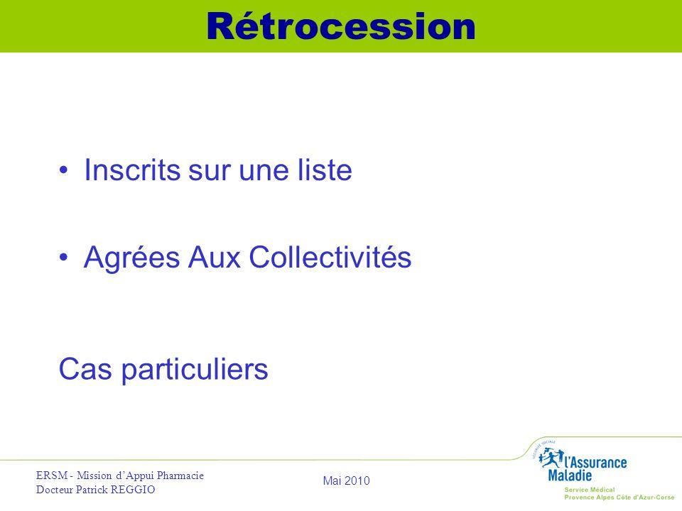 Rétrocession Inscrits sur une liste Agrées Aux Collectivités