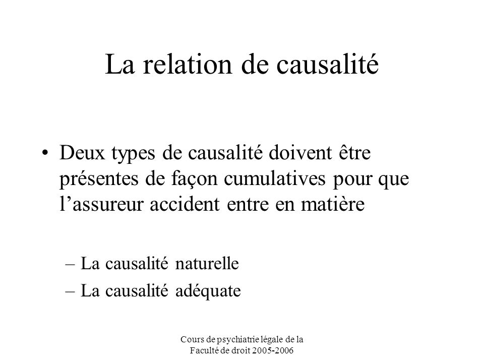 La relation de causalité