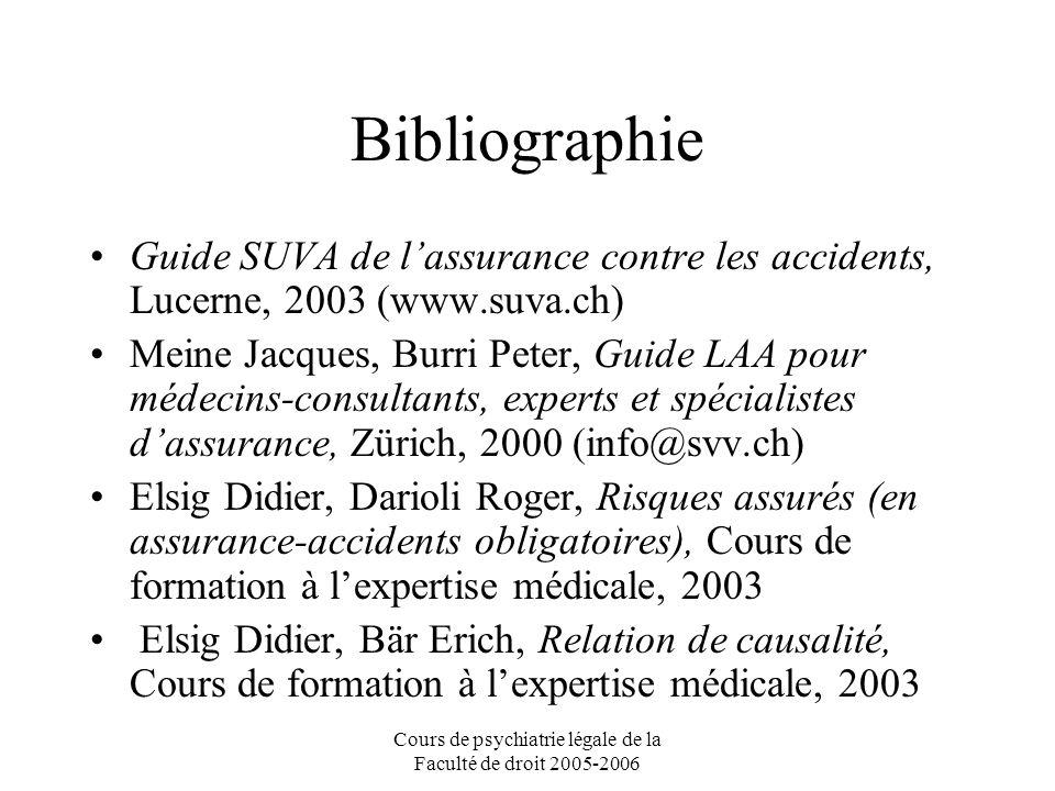 Cours de psychiatrie légale de la Faculté de droit 2005-2006