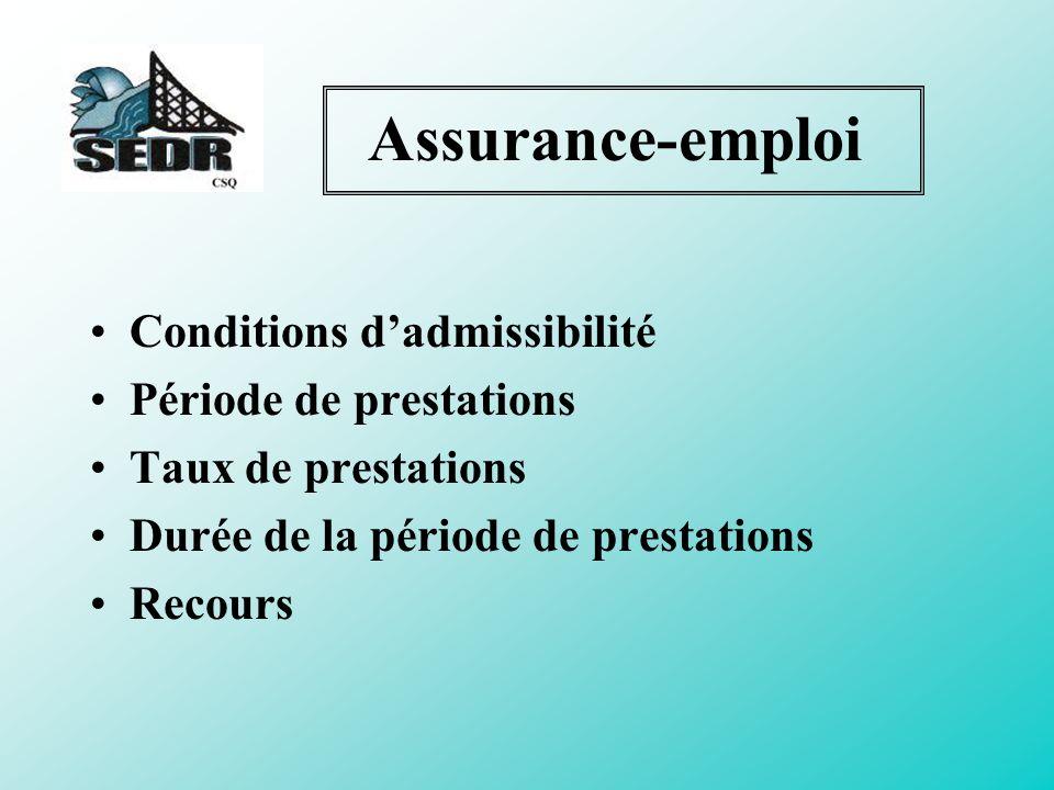Assurance-emploi Conditions d'admissibilité Période de prestations