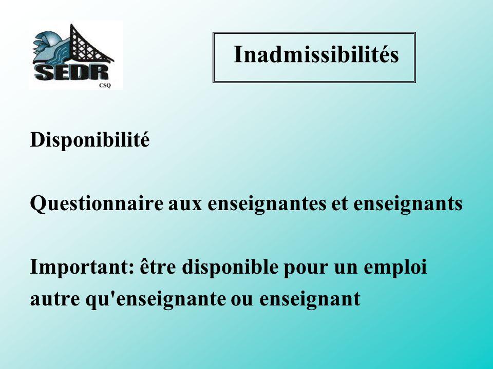 Inadmissibilités Disponibilité