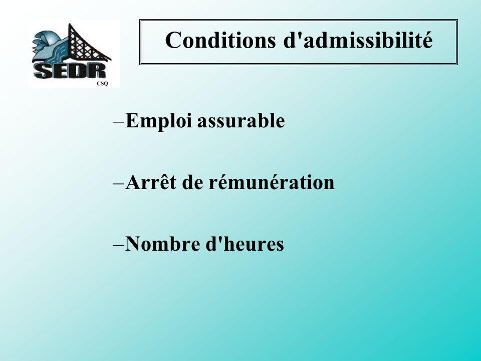 Conditions d admissibilité