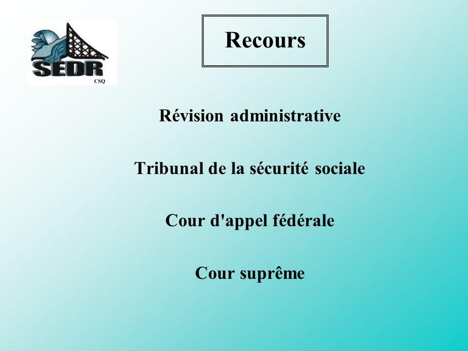 Révision administrative Tribunal de la sécurité sociale