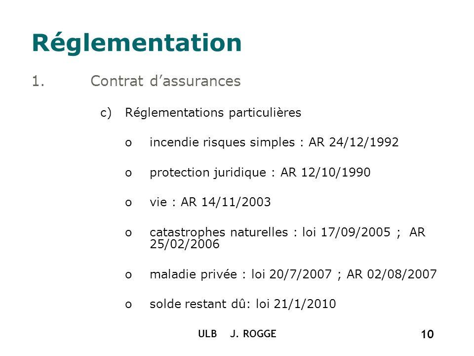 Réglementation Contrat d'assurances Réglementations particulières