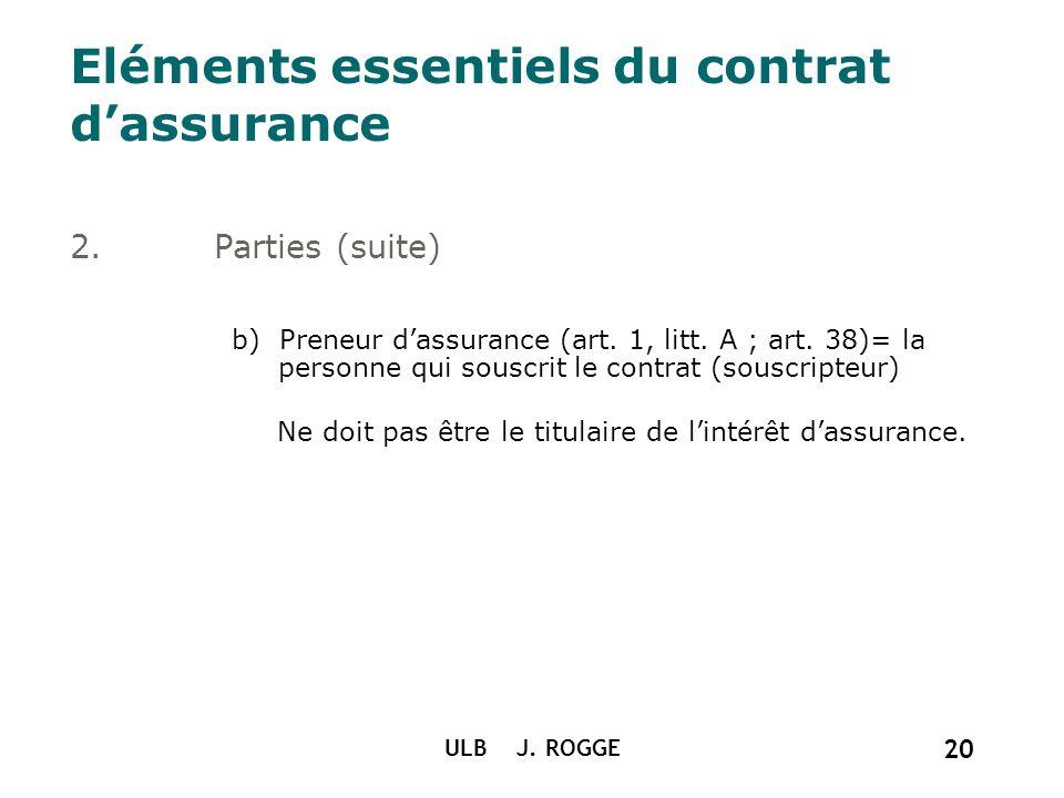 Eléments essentiels du contrat d'assurance