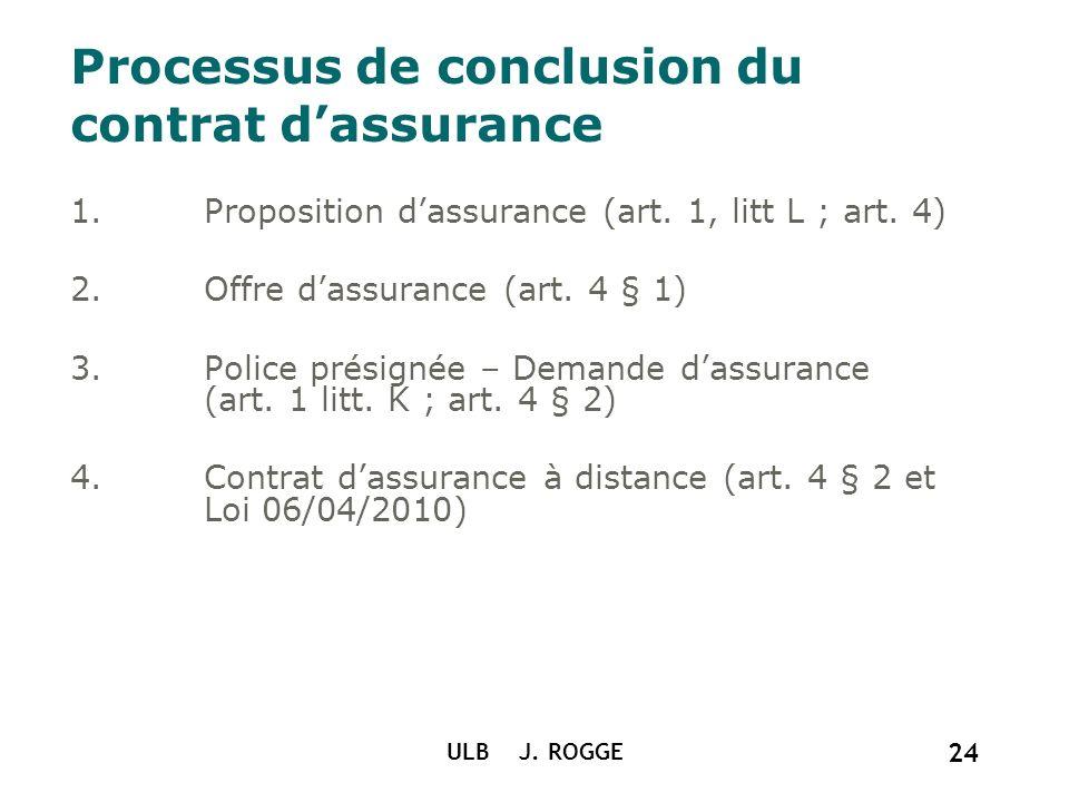 Processus de conclusion du contrat d'assurance