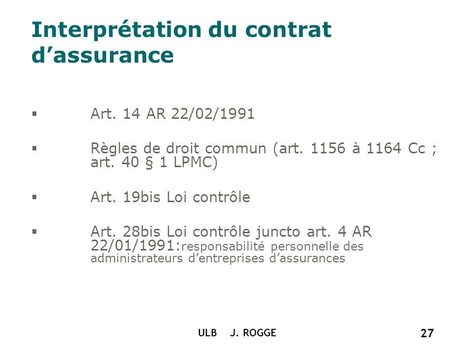 Interprétation du contrat d'assurance