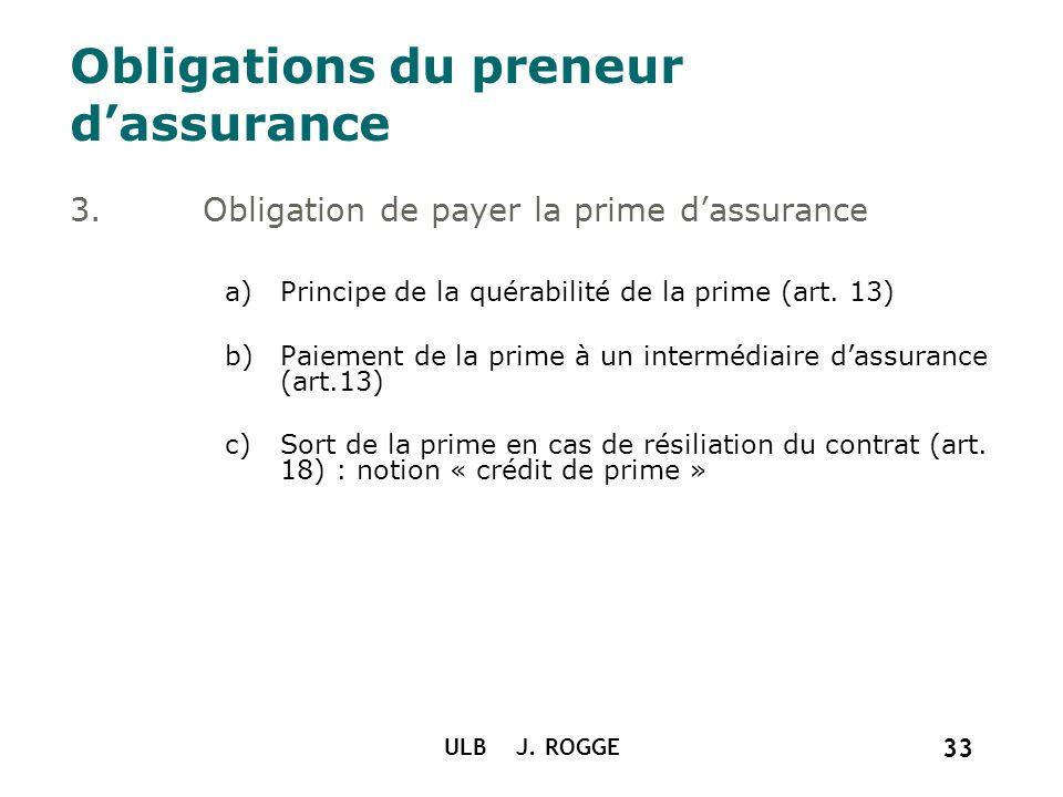 Obligations du preneur d'assurance