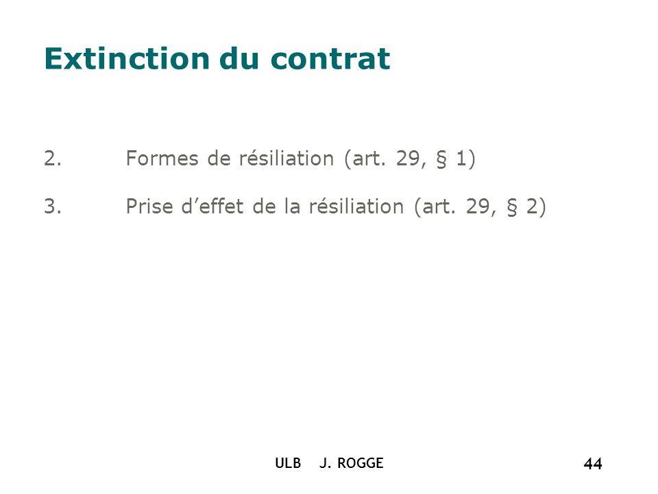 Extinction du contrat Formes de résiliation (art. 29, § 1)