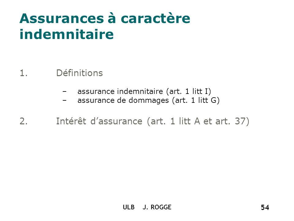 Assurances à caractère indemnitaire
