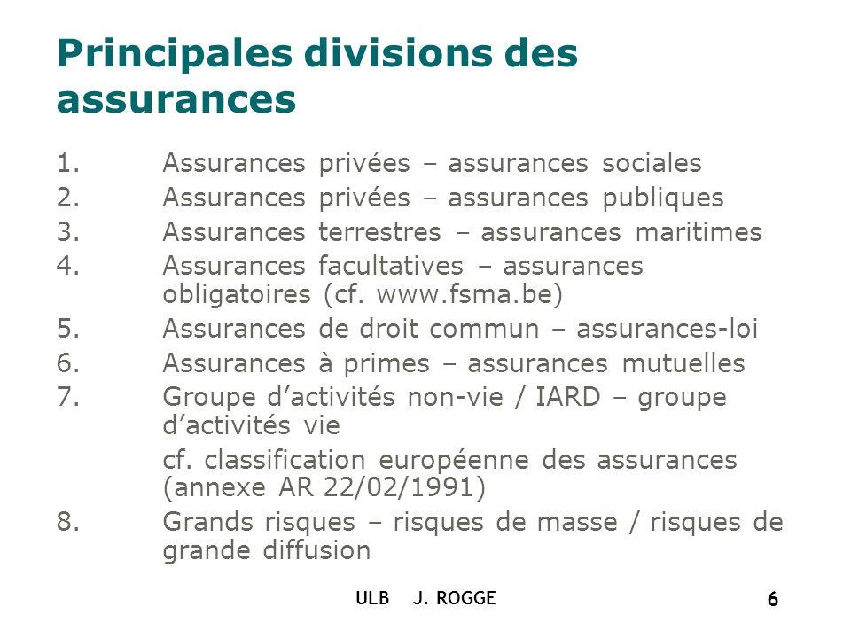 Principales divisions des assurances