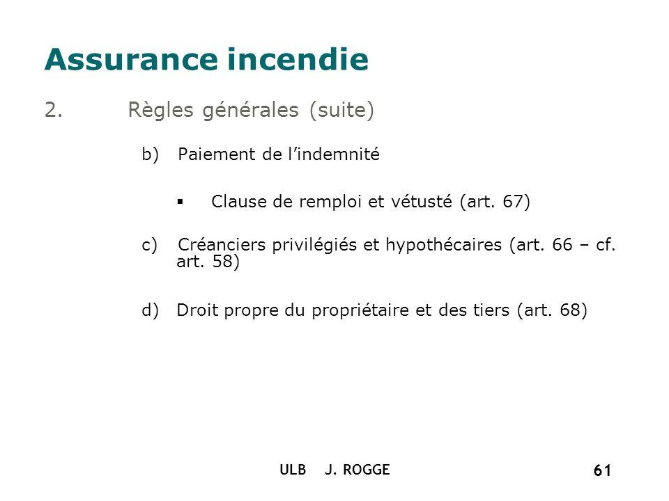 Assurance incendie Règles générales (suite) Paiement de l'indemnité