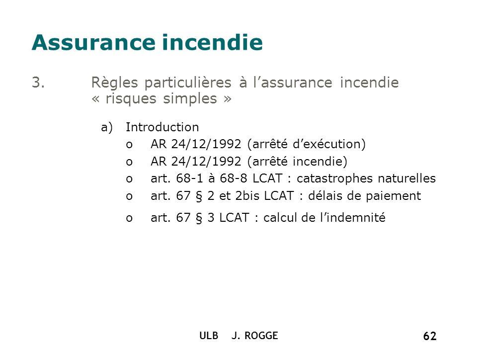Assurance incendie Règles particulières à l'assurance incendie « risques simples » Introduction. AR 24/12/1992 (arrêté d'exécution)