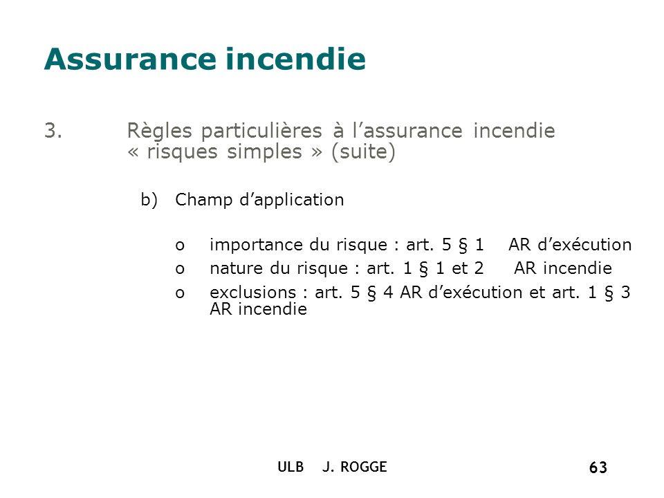 Assurance incendie Règles particulières à l'assurance incendie « risques simples » (suite) Champ d'application.