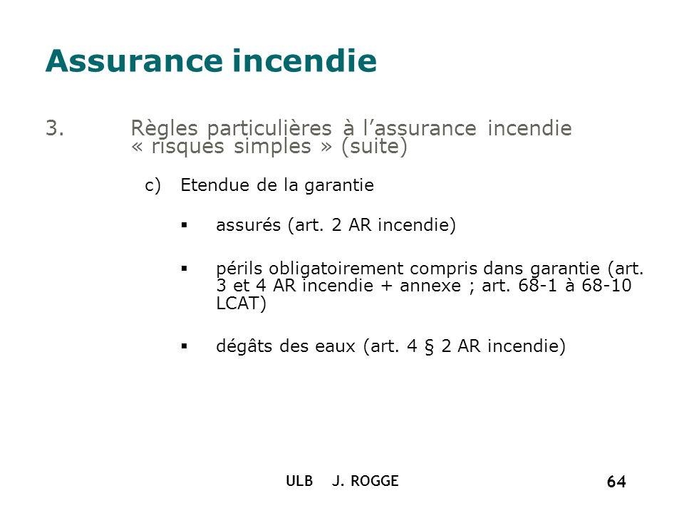 Assurance incendie Règles particulières à l'assurance incendie « risques simples » (suite) Etendue de la garantie.