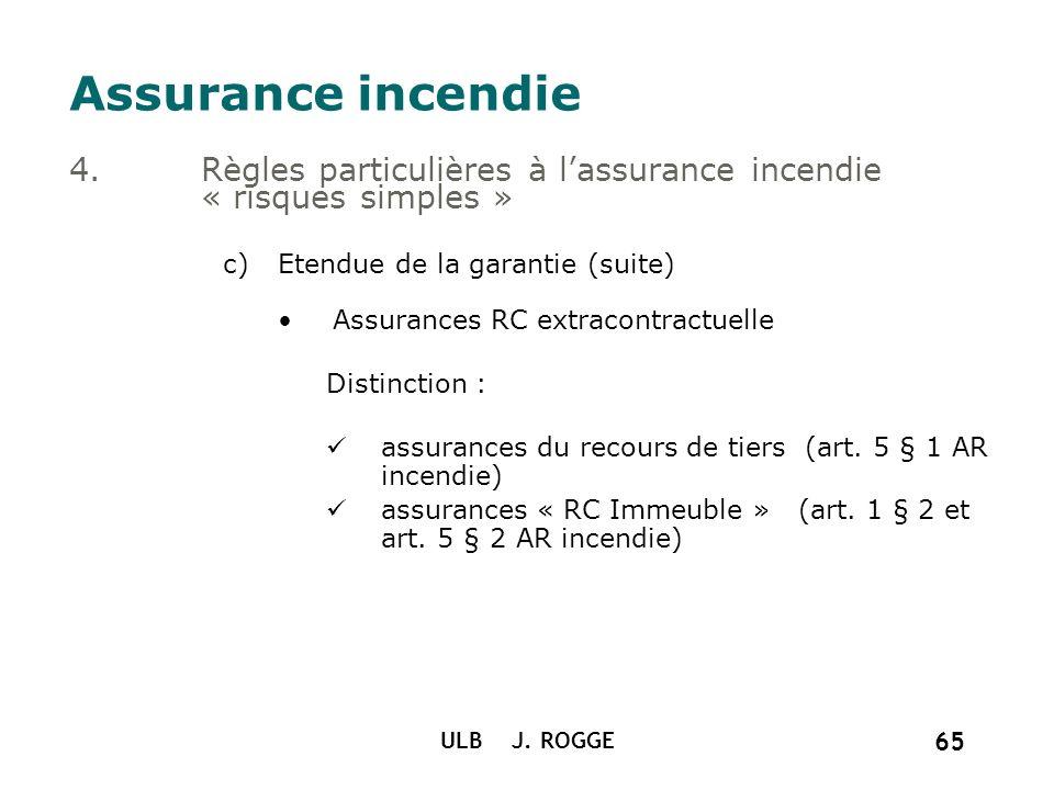 Assurance incendie Règles particulières à l'assurance incendie « risques simples » Etendue de la garantie (suite)