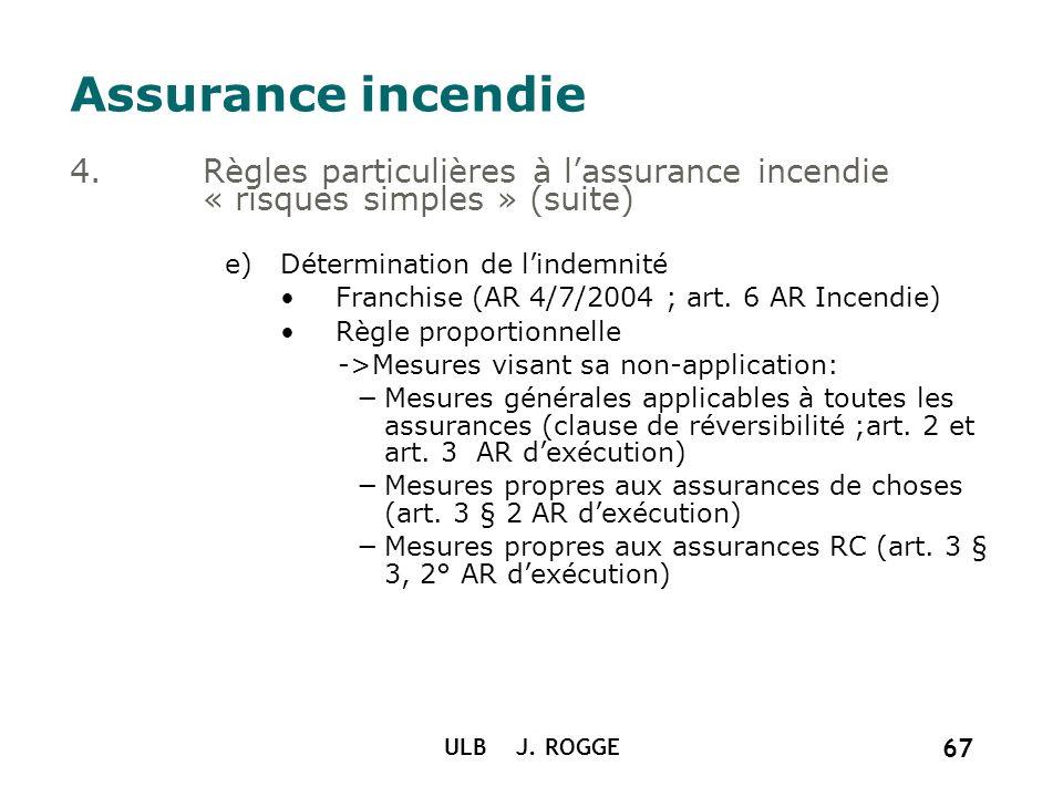 Assurance incendie Règles particulières à l'assurance incendie « risques simples » (suite) Détermination de l'indemnité.