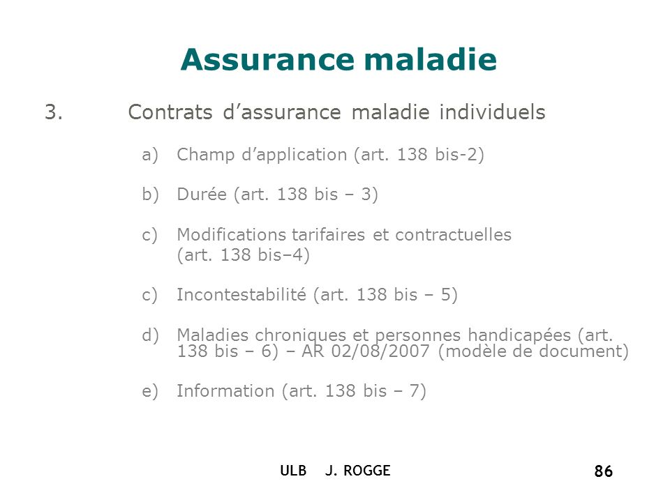 Assurance maladie Contrats d'assurance maladie individuels