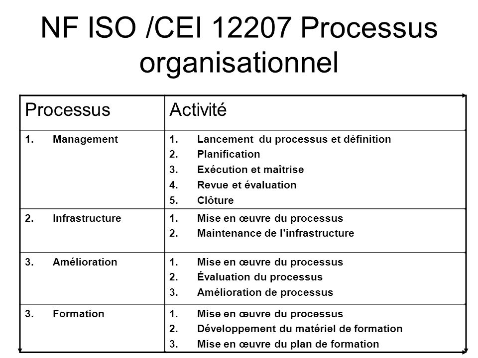 NF ISO /CEI 12207 Processus organisationnel