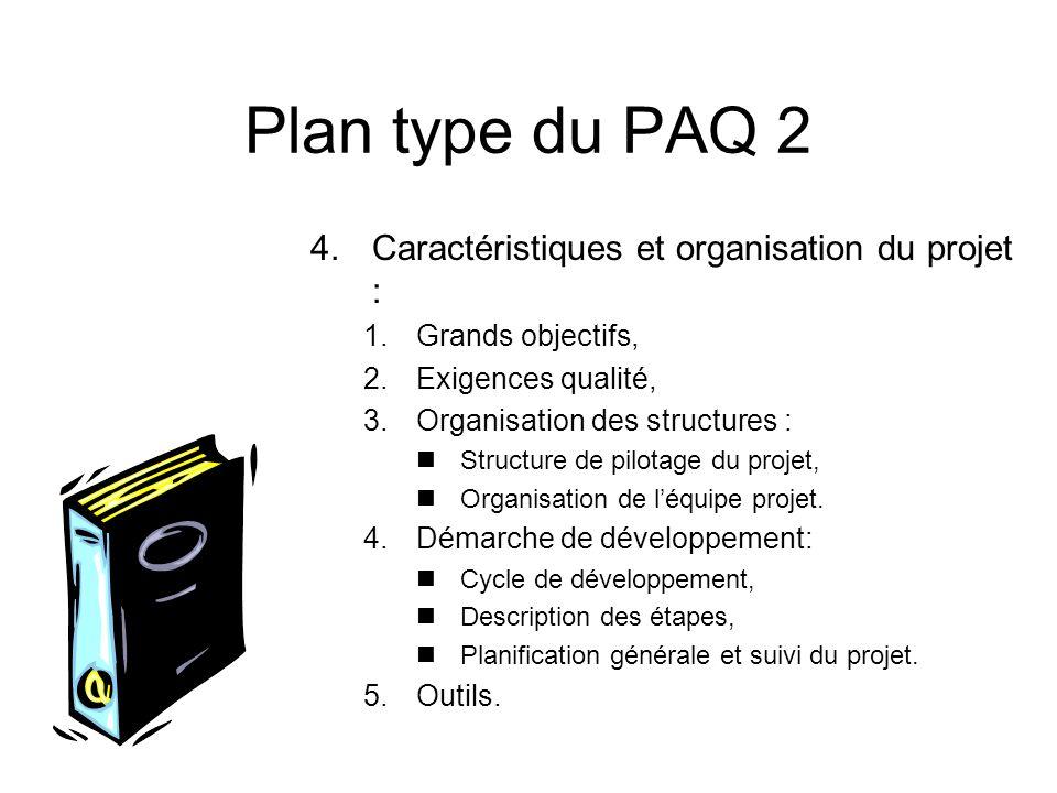 Plan type du PAQ 2 Caractéristiques et organisation du projet :