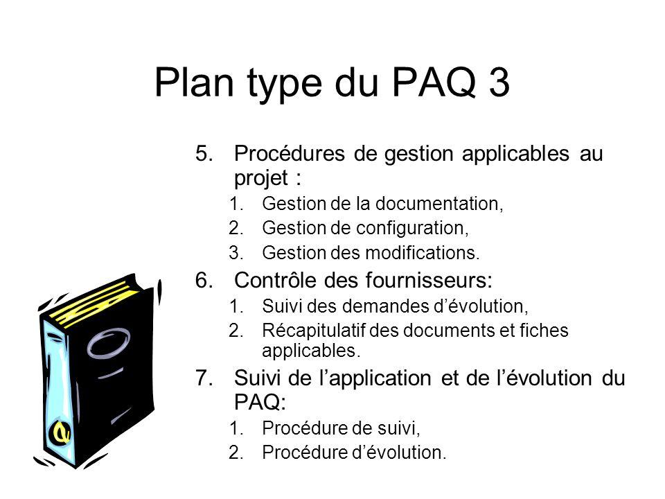 Plan type du PAQ 3 Procédures de gestion applicables au projet :