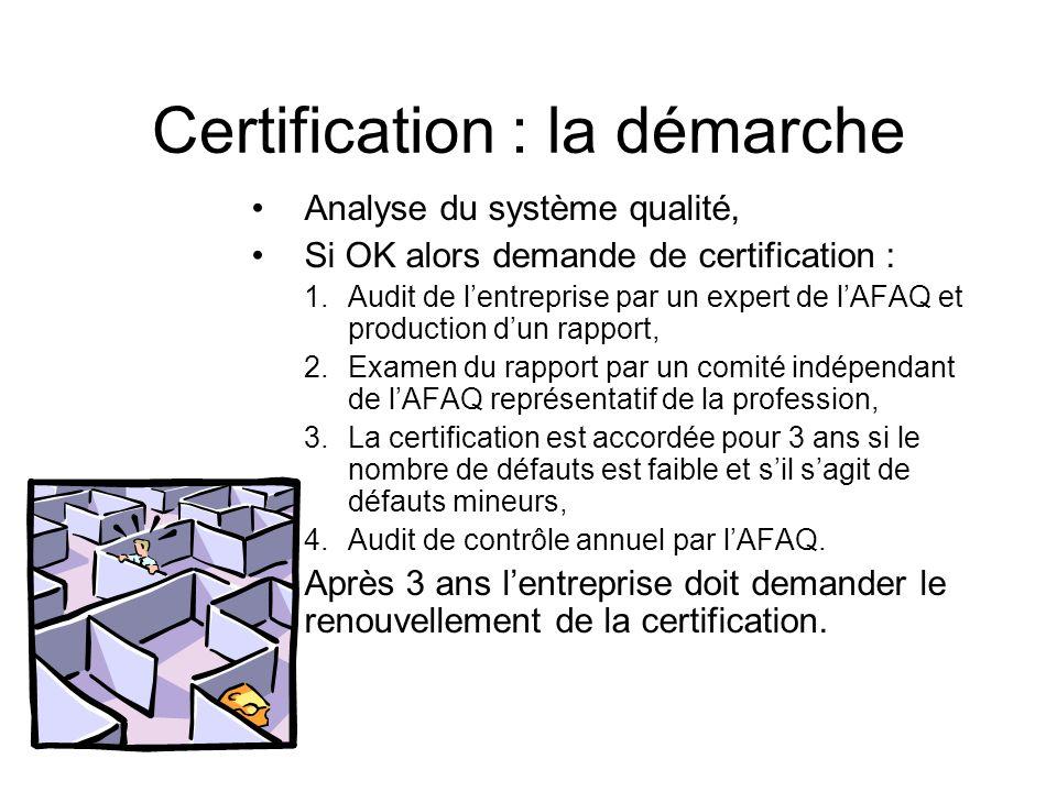 Certification : la démarche
