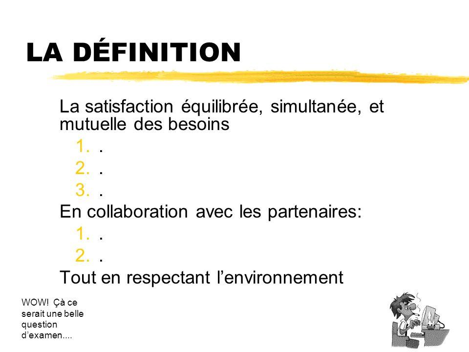 LA DÉFINITION La satisfaction équilibrée, simultanée, et mutuelle des besoins. . En collaboration avec les partenaires: