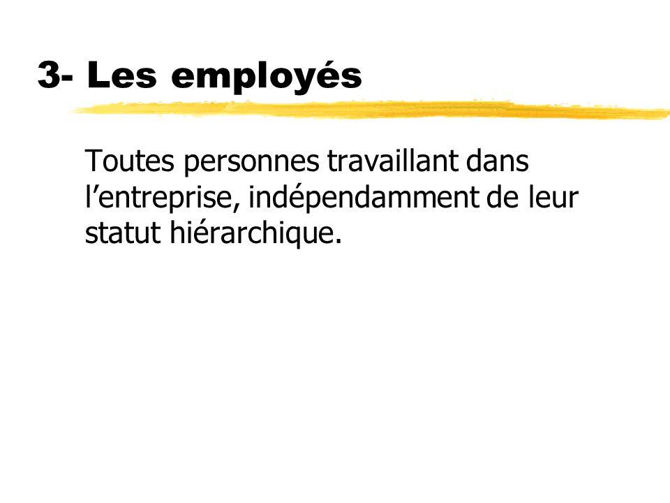 3- Les employés Toutes personnes travaillant dans l'entreprise, indépendamment de leur statut hiérarchique.