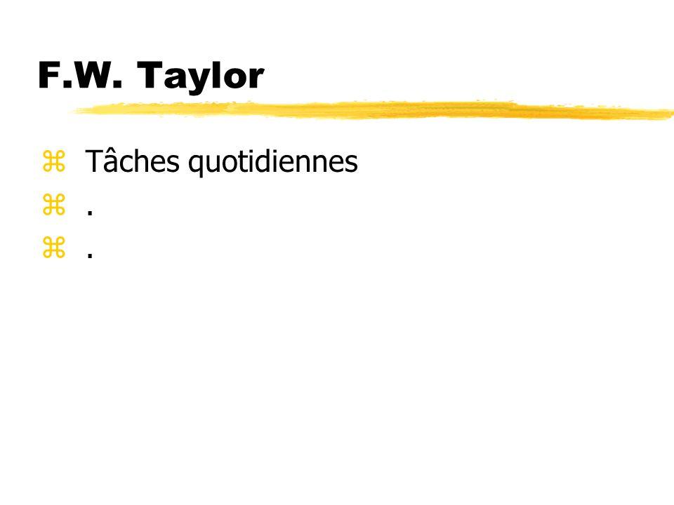F.W. Taylor Tâches quotidiennes .